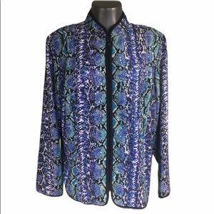 MSK USA  Sequins Blue Reptile Print Zip Jacket 2X